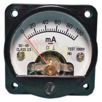 Medidor de panel cuadrado fondo de escala 100mA DC