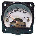 Medidor de panel cuadrado fondo de escala 200mA DC